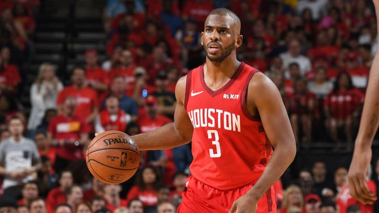 Chris Paul #3 of the Houston Rockets handles the ball against the Golden State Warriors during Game Three of the Western Conference Semifinals of the 2019 NBA Playoffs on May 4, 2019 at the Toyota Center in Houston, Texas.