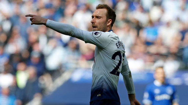 Christian Eriksen during the Premier League match vs Everton at Tottenham Hotspur Stadium