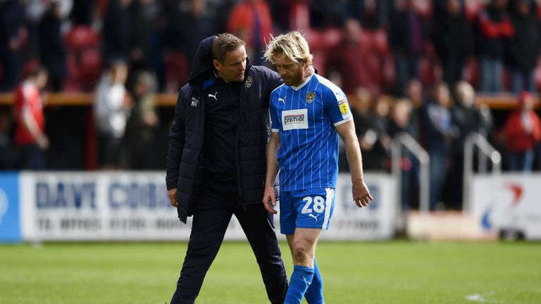 Neal Ardley consoles Craig Mackail-Smith following Notts County's relegation
