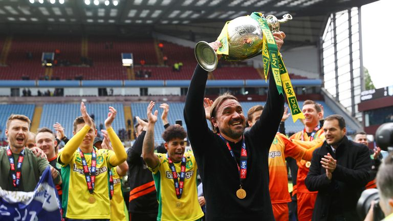 Daniel Farke lifts the Sky Bet EFL Championship trophy in front of his supporters