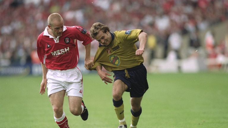 Danny Mills and Michael Gray battle during the 1998 Division One play-off final