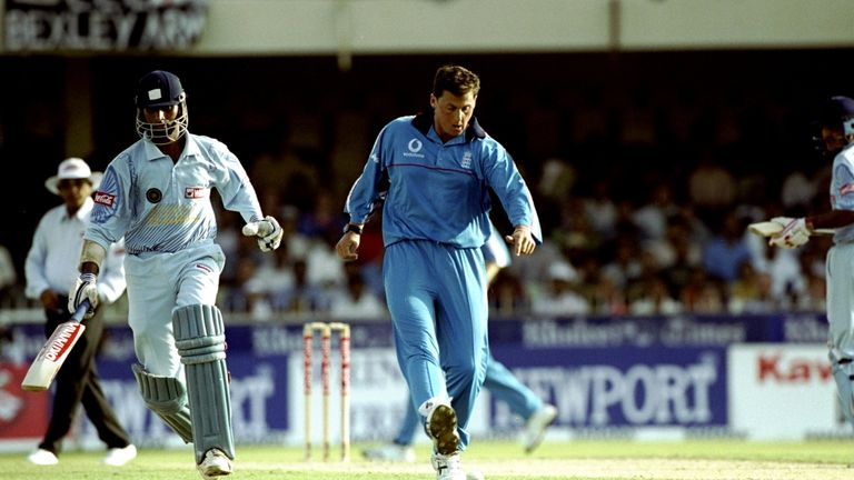 Darren Gough kicks out in frustration during England's World Cup preparations in Sharjah