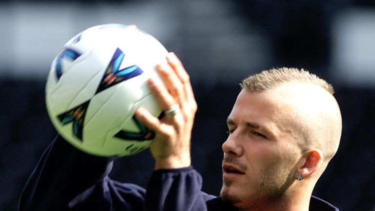 Beckham eventually got to showcase his haircut at the end of the season when on England duty