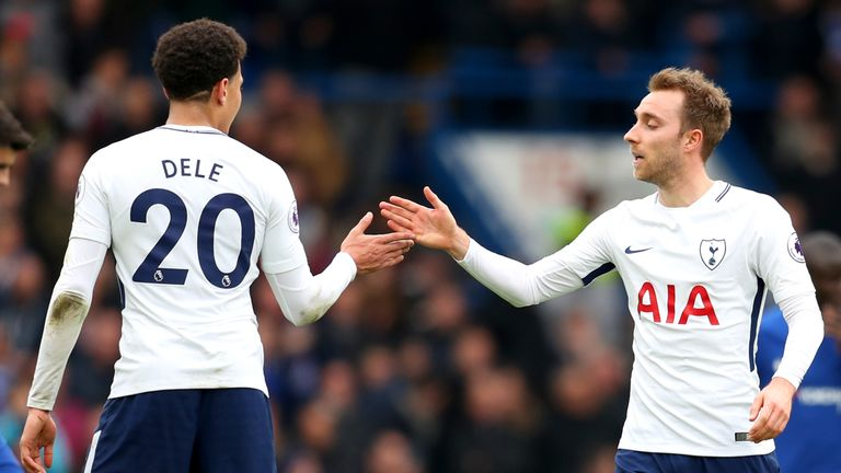 Dele Alli and Christian Eriksen during the Premier League match between Chelsea and Tottenham Hotspur at Stamford Bridge on April 1, 2018 in London, England.