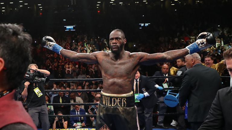 Wilder celebrates after securing a victory with his 40th knockout