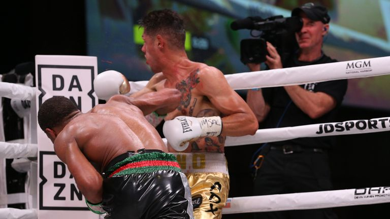 Haney lands a powerful overhand right to end the fight in the seventh round