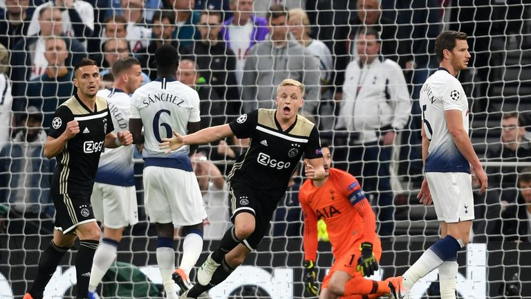 Donny van de Beek celebrates scoring the only goal of the game in the first leg