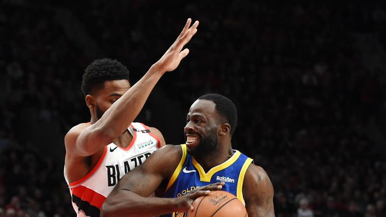 Draymond Green #23 of the Golden State Warriors drives to the basket against Maurice Harkless #4 of the Portland Trail Blazers during the first half in game three of the NBA Western Conference Finals at Moda Center on May 18, 2019 in Portland, Oregon.