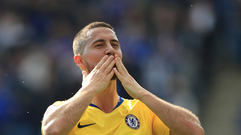 Chelsea's Eden Hazard blows kisses to the club's fans after the draw with Leicester.