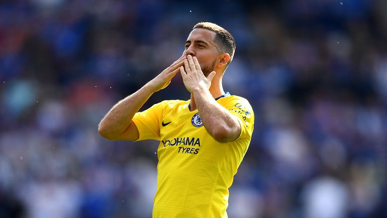 Eden Hazard of Chelsea acknowledges the fans after the Premier League match between Leicester City and Chelsea FC at The King Power Stadium on May 12, 2019 in Leicester, United Kingdom.