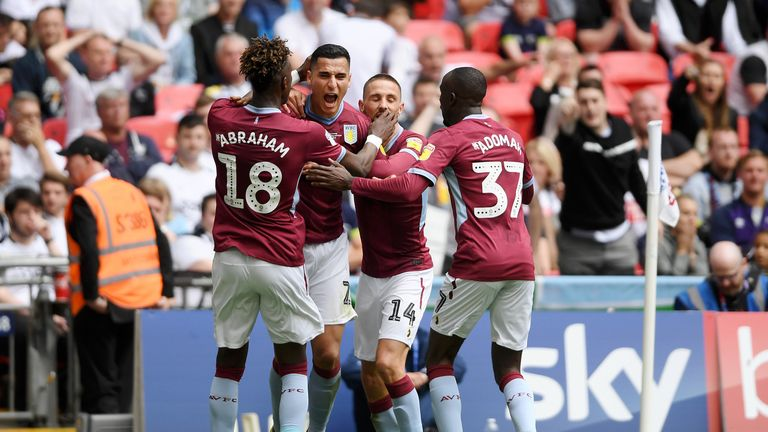 El Ghazi celebrates scoring for Aston Villa