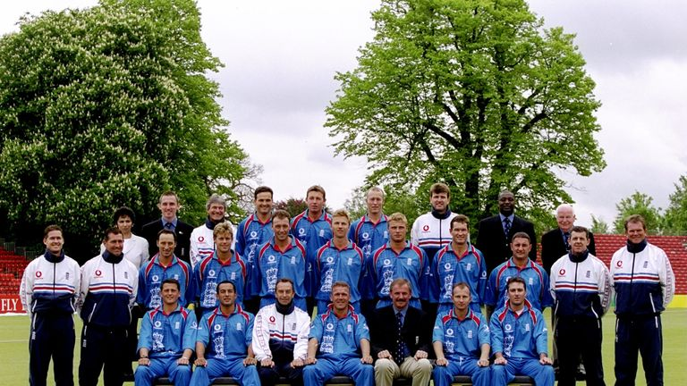 England's squad pictured ahead of the 1999 World Cup