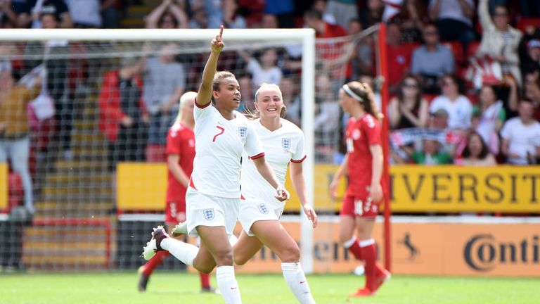 Nikita Parris celebrates giving England the lead on the stroke of half time