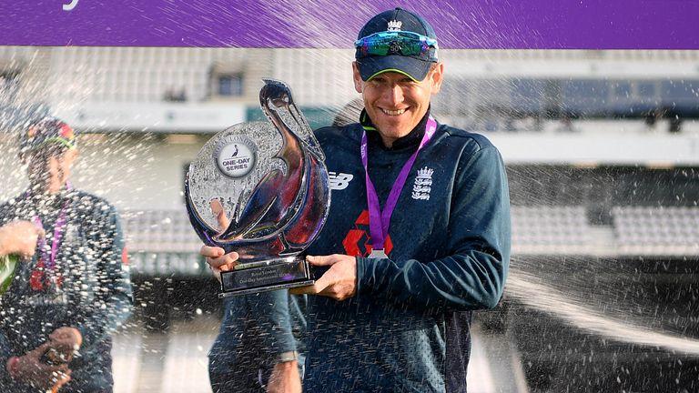 Eoin Morgan celebrates an 11th series win in England's last 12 bilateral ODI series
