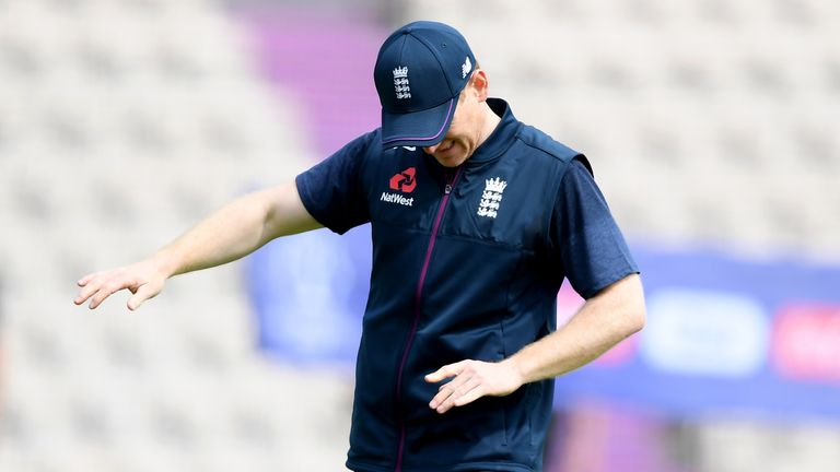 Eoin Morgan injures his finger during an England nets session at The Ageas Bowl on May 24, 2019