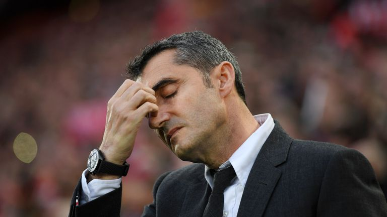 Ernesto Valverde could not hide his despair at Anfield