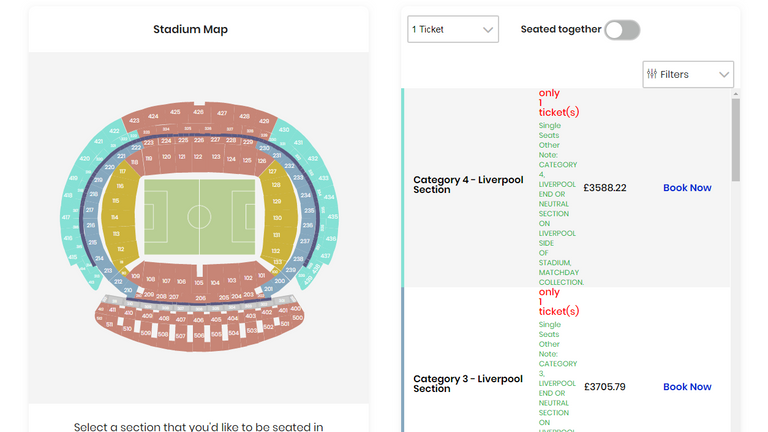 Face value tickets for the Champions League final are priced between £60 and £513 but third-party websites such as Football ticket pad are selling for much more