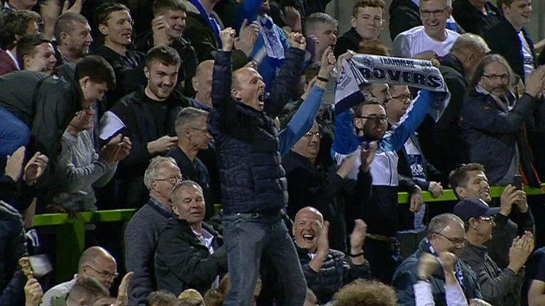 Mike Dean celebrates Tranmere Rovers' play-off semi final win.