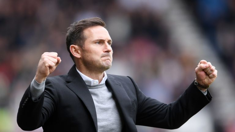 Frank Lampard celebrates as Derby County extend their lead at home to West Brom
