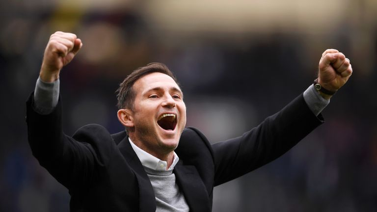 Frank Lampard celebrates Derby's 3-1 win over West Brom which sees them qualify for the playoffs in sixth spot