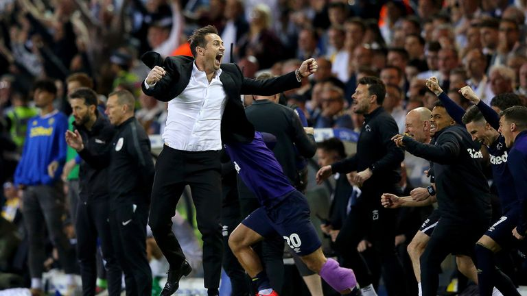 Frank Lampard celebrates leading Derby to the Championship play-off finals at full-time