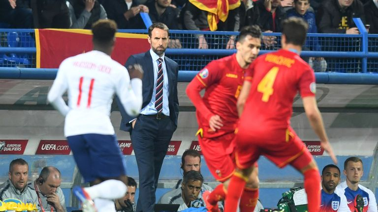 Gareth Southgate manager of England looks on from the touchline during the 2020 UEFA European Championships Group A qualifying match between Montenegro and England at Podgorica City Stadium on March 25, 2019 in Podgorica, Montenegro