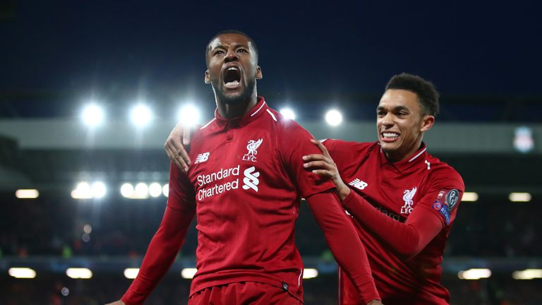 Georginio Wijnaldum celebrates after scoring in Liverpool's 4-0 win over Barcelona at Anfield