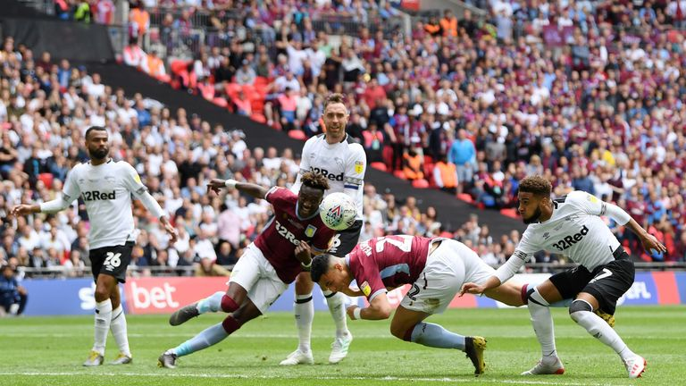 LONDON, ENGLAND - MAY 27: Anwar El Ghazi of Aston Villa scores his team's first goal during the Sky Bet Championship Play-off Final match between Aston Villa and Derby County at Wembley Stadium on May 27, 2019 in London, United Kingdom. (Photo by Mike Hewitt/Getty Images)
