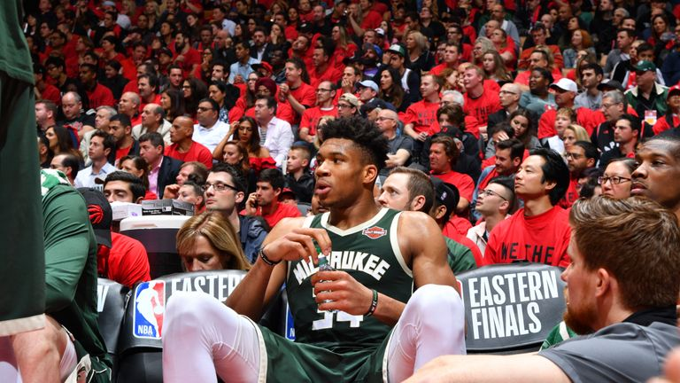 Giannis Antetokounmpo #34 of the Milwaukee Bucks looks on during a game against the Toronto Raptors during Game Three of the Eastern Conference Finals of the 2019 NBA Playoffs on May 19, 2019 at the Scotiabank Arena in Toronto, Ontario, Canada.