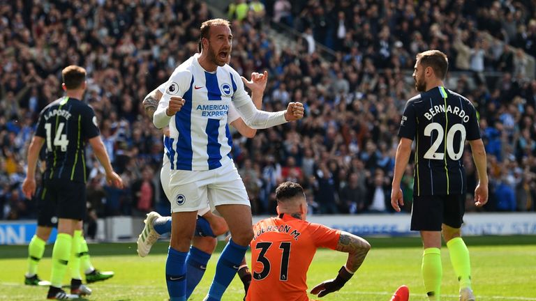 Glenn Murray celebrates his opener vs Manchester City