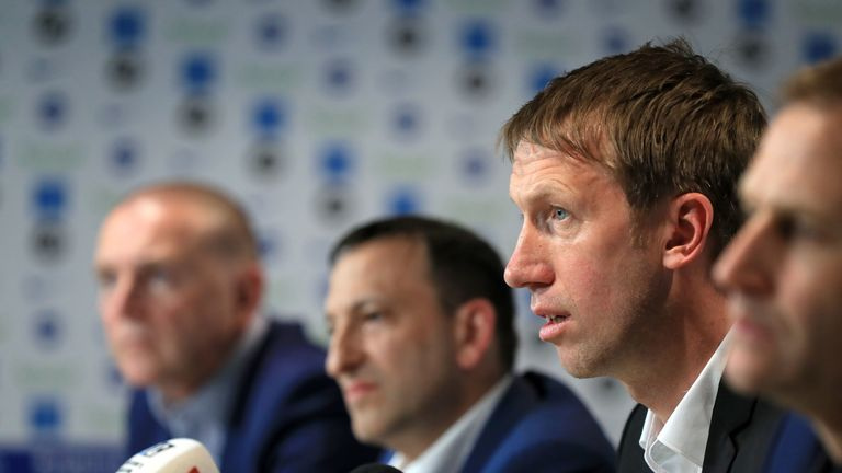 Graham Potter speaks during a press conference after his unveiling as Brighton's new manager