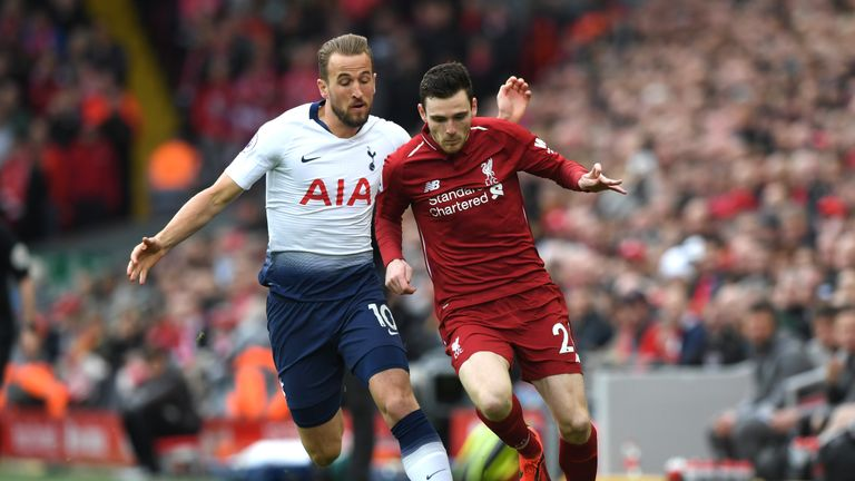Kane and Robertson fight for the ball in a Premier League fixture