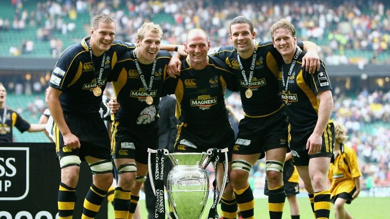 In 2008, Haskell (second from left) was part of a Wasps team which clinched the Premiership title