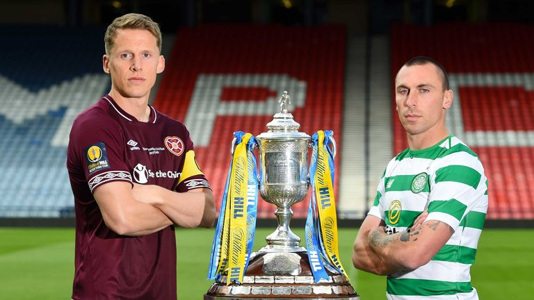 23/05/19.HAMPDEN - GLASGOW.Hearts manager captain Christophe Berra (L) and Celtic captain Scott Brown preview the upcoming William Hill Scottish Cup Final.