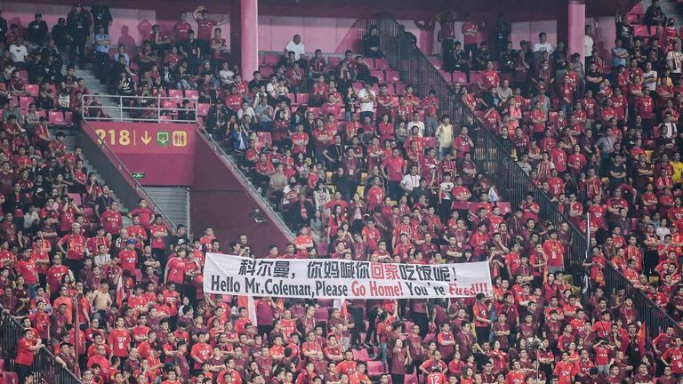 Hebei fans unfurled a banner calling for Coleman to be sacked on Saturday