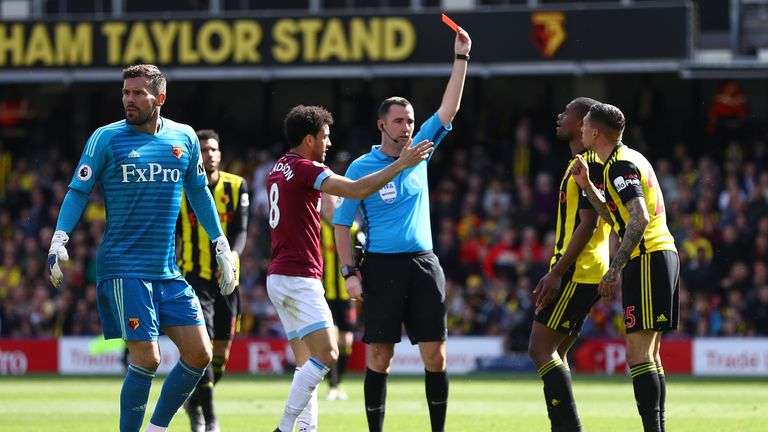 Holebas was sent off for Watford after fouling West Ham's Michail Antonio