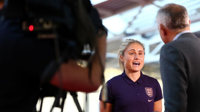 Steph Houghton speaks at the England Women media day ahead of the World Cup in France