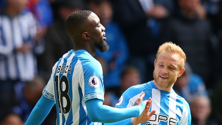Isaac Mbenza of Huddersfield Town celebrates his equaliser with Alex Pritchard
