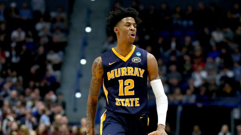 Ja Morant #12 of the Murray State Racers celebrates his three point basket against the Florida State Seminoles in the first half during the second round of the 2019 NCAA Men's Basketball Tournament at XL Center on March 23, 2019 in Hartford, Connecticut.