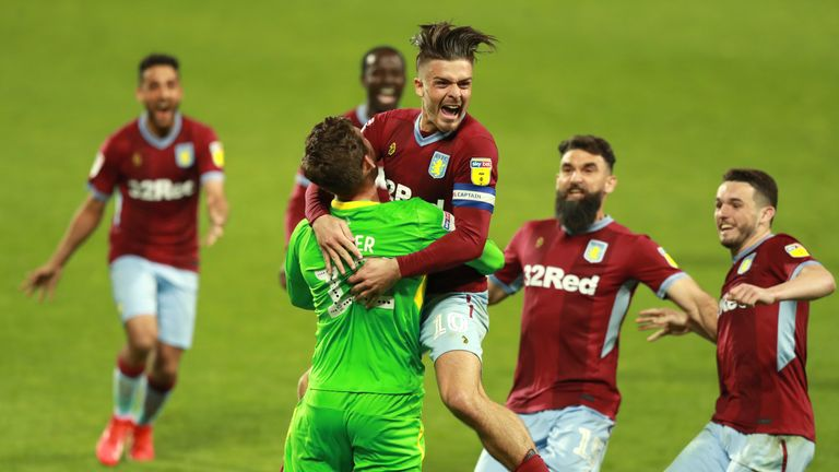 Jack Grealish celebrates Aston Villa's play-off win over West Brom