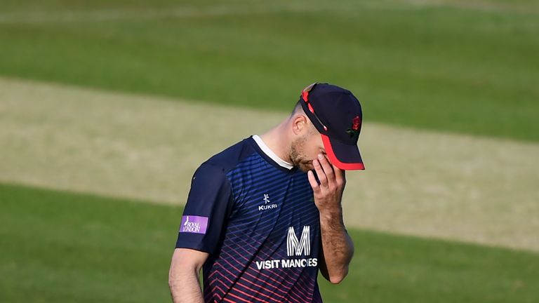 James Anderson was hit on the knee bowling for Lancashire in the One-Day Cup