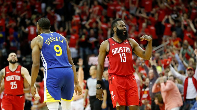 James Harden #13 of the Houston Rockets celebrates after a three point shot in overtime during Game Three of the Second Round of the 2019 NBA Western Conference Playoffs against the Golden State Warriors at Toyota Center on May 4, 2019 in Houston, Texas