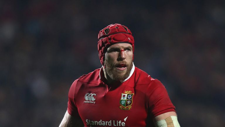 James Haskell of the Lions looks on during the match between the Chiefs and the British & Irish Lions at Waikato Stadium on June 20, 2017 in Hamilton, New Zealand