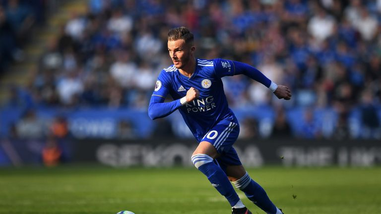 Leicester City's James Maddison in action during the Premier League match vs Bournemouth at The King Power Stadium on March 30, 2019