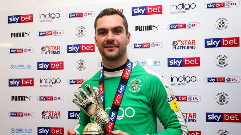 Luton Town's James Shea's fine form helped his side to promotion to the Sky Bet Championship