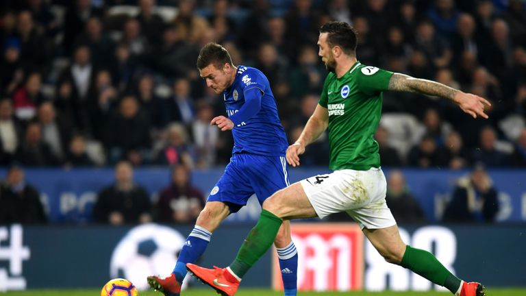 Jamie Vardy and Shane Duffy during the Premier League match between Leicester City and Brighton & Hove Albion at The King Power Stadium on February 26, 2019 in Leicester, United Kingdom.