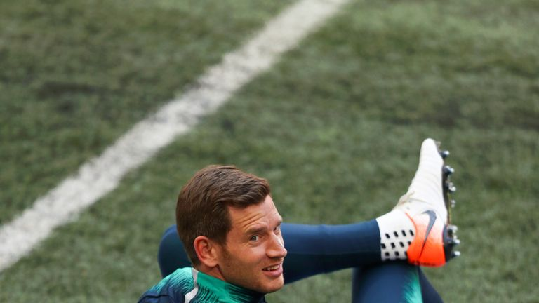 Jan Vertonghen during a Spurs training session on the eve of their Champions League semi-final, second leg against Ajax