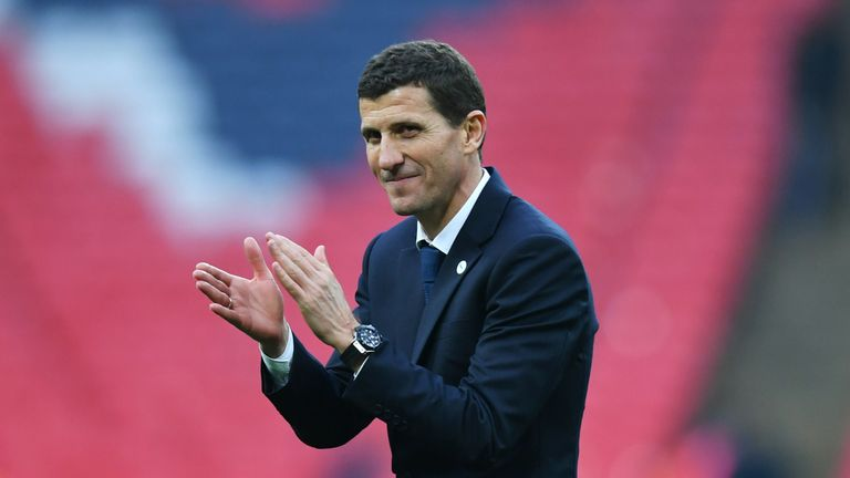 Javi Gracia, Manager of Watford celebrates victory after the FA Cup Semi Final match between Watford and Wolverhampton Wanderers at Wembley Stadium on April 07, 2019 in London, England