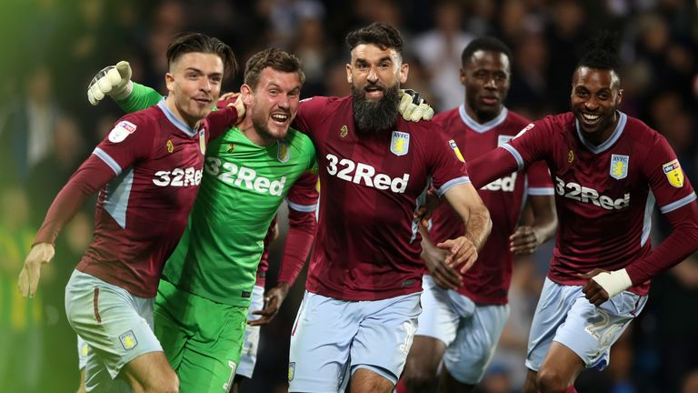 "Aston Villa's Jack Grealish (left), Jed Steer and Mile Jedinak celebrate victory during the Sky Bet Championship, Play-Off, Second Leg match at The Hawthorns, West Bromwich. PRESS ASSOCIATION Photo. Picture date: Tuesday May 14, 2019. See PA story West Brom. Photo credit should read: Nick Potts/PA Wire. RESTRICTIONS: EDITORIAL USE ONLY No use with unauthorised audio, video, data, fixture lists, club/league logos or ""live"" services. Online in-match use limited to 120 images, no video emulation. No use in betting, games or single club/league/player publications."