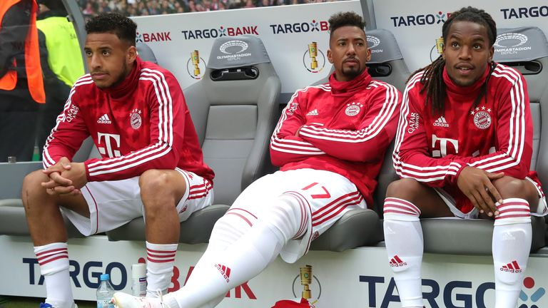 Jerome Boateng on the bench during Saturday's German Cup final in Berlin